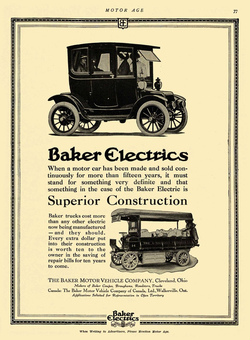 1913 9 18 BAKER Electric Superior Construction THE BAKER MOTOR VEHICLE COMPANY Cleveland, OHIO MOTOR AGE September 18, 1913 8.5″x11.5″ page 77