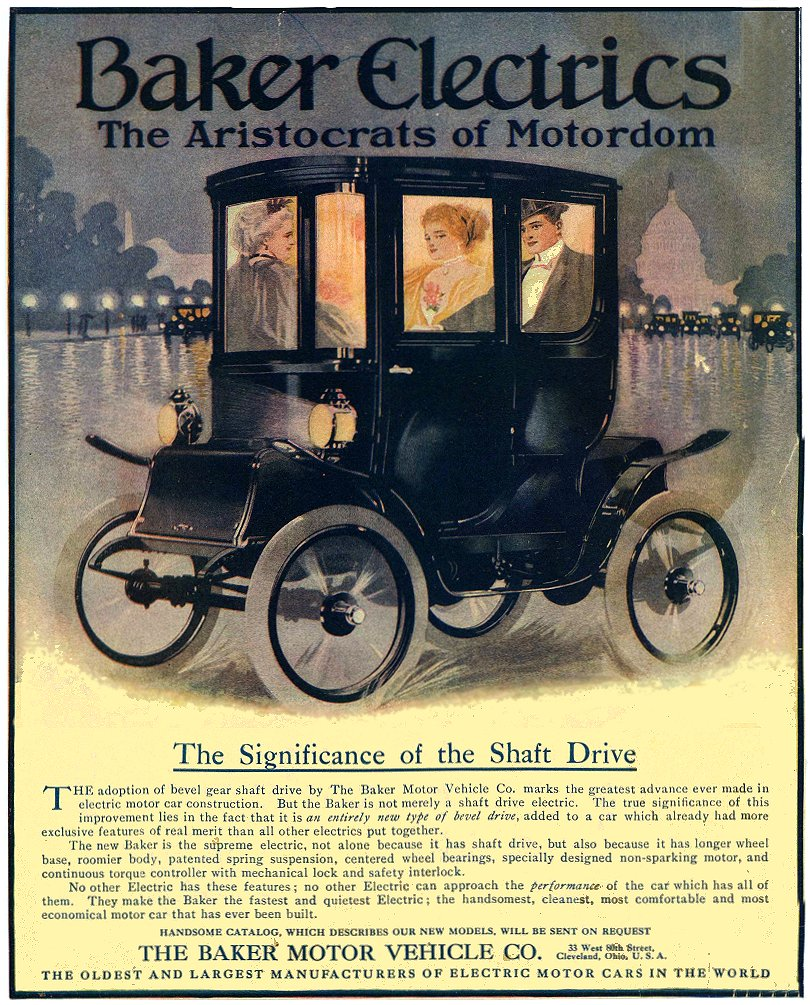 1913 ca. BAKER Electric The Significance of the Shaft Drive THE BAKER MOTOR VEHICLE CO. Cleveland, OHIO ca. 1913 8″x10″