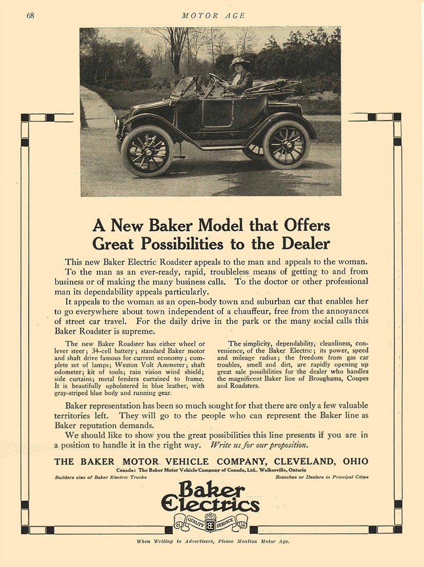 1913 6 26 BAKER Electric A New Baker Model that Offers The Baker Motor Vehicle Company Cleveland, OHIO MOTOR AGE June 26, 1913 8.5″x11.75″ page 68