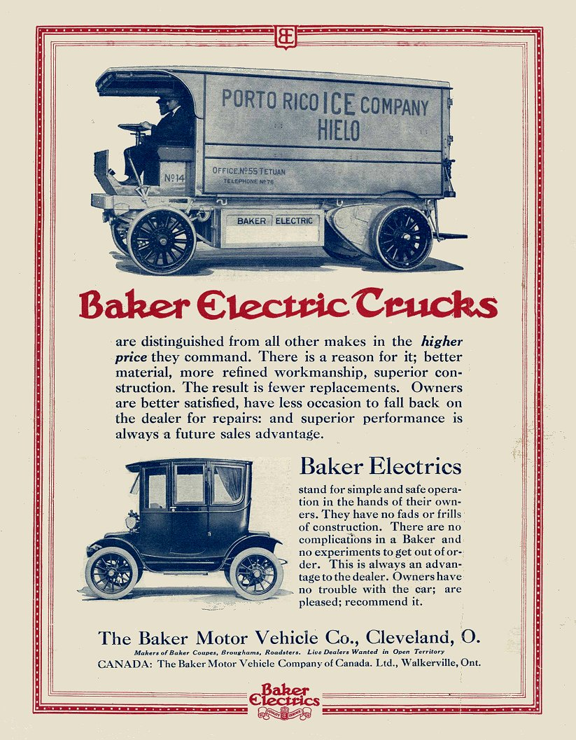 1913 10 16 BAKER Electric Trucks Cleveland, Ohio MOTOR AGE Oct 16, 1913 8.75″x11.5″ Back cover?