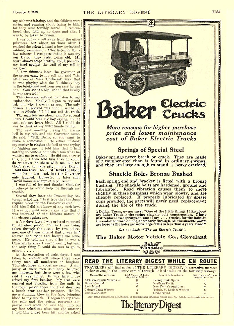 1913 12 6 BAKER Electric Truck Springs of Special Steel The Baker Motor Vehicle Co. Cleveland, OHIO The Literary Digest December 6, 1913 8.25″x12″ page 1135