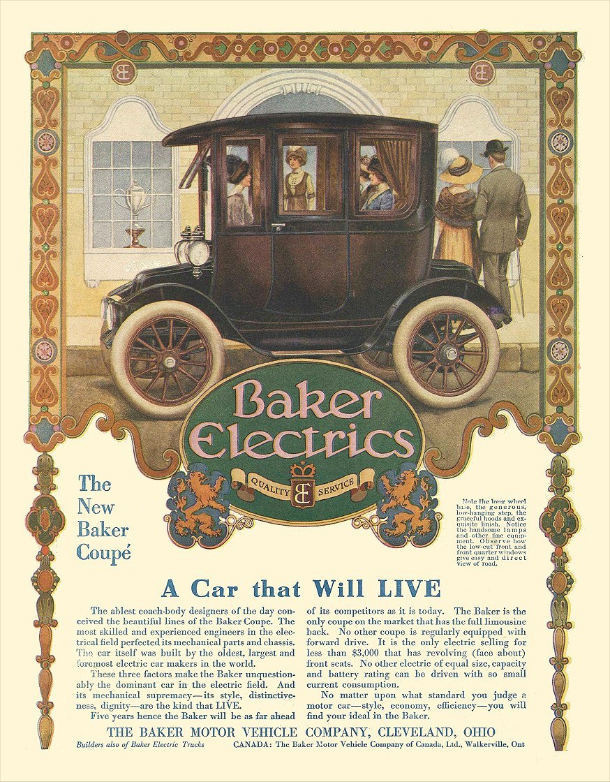 1913 BAKER Electric A Car that Will LIVE The Baker Motor Vehicle Company Cleveland, OHIO LIFE 1913 8.25″x10.75″