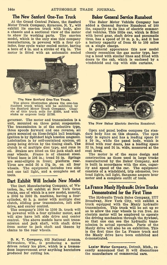 1913 BAKER Electric Truck New Baker Electric Service Runabout The Baker Motor Vehicle Company Cleveland, OHIO AUTOMOBILE TRADE JOURNAL 1913 6.25″x10″ page 144B