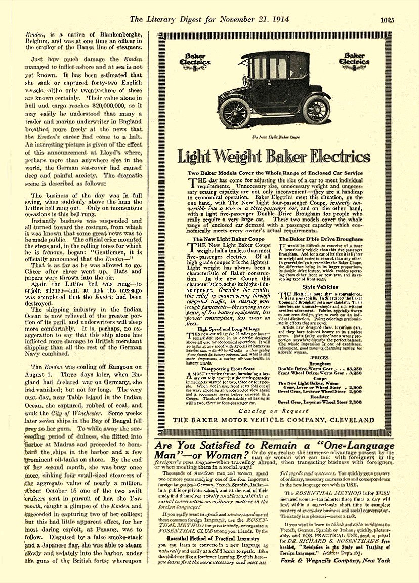 1914 11 21 BAKER Electric Light Weight Baker Electrics THE BAKER MOTOR VEHICLE COMPANY Cleveland, OHIO The Literary Digest November 21, 1914 8.5″x12″ page 1025
