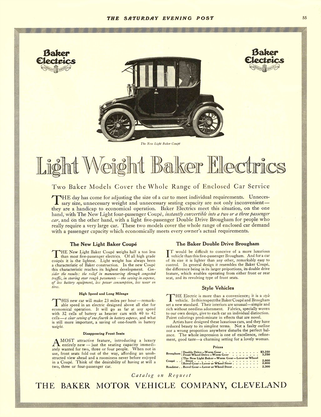 1914 11 21 BAKER Electric Light Weight Baker Electrics THE BAKER MOTOR VEHICLE COMPANY Cleveland, OHIO THE SATURDAY EVENING POST November 21, 1914 11″x14″ page 55