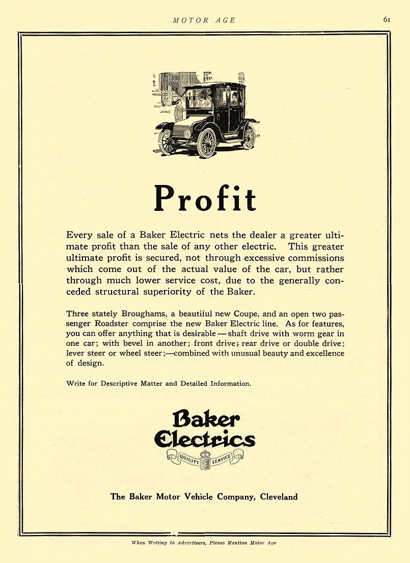 1914 2 5 BAKER Electric Profit The Baker Motor Vehicle Company Cleveland, OHIO MOTOR AGE February 5, 1914 8.25″x12″ page 61