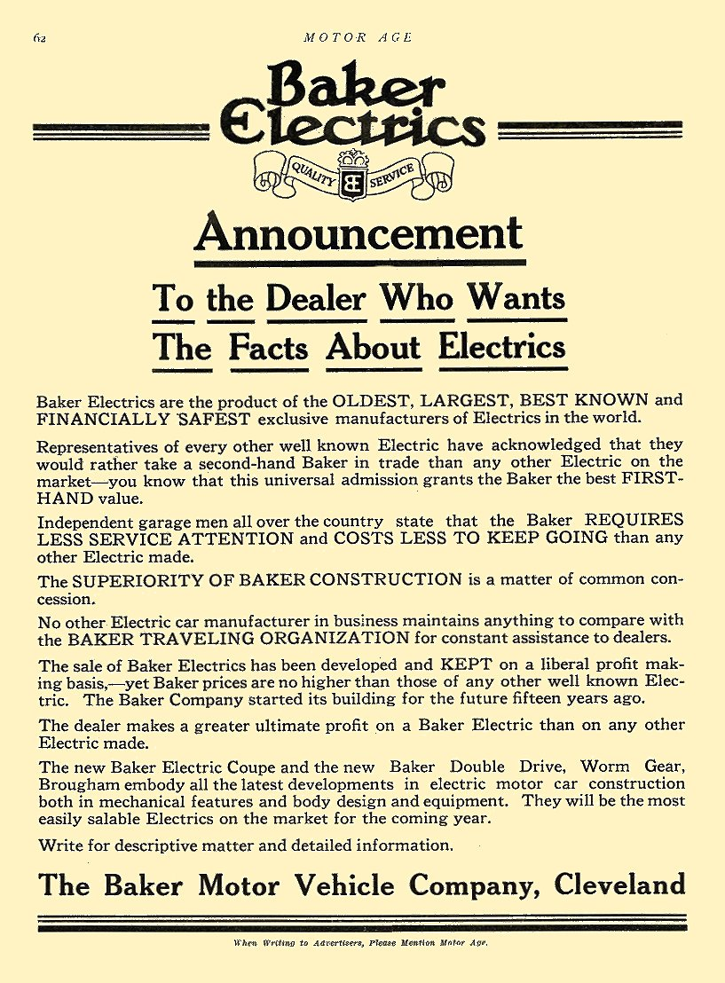 1914 2 5 BAKER Electric Announcement The Baker Motor Vehicle Company Cleveland, OHIO MOTOR AGE February 5, 1914 8.5″x12″ page 62