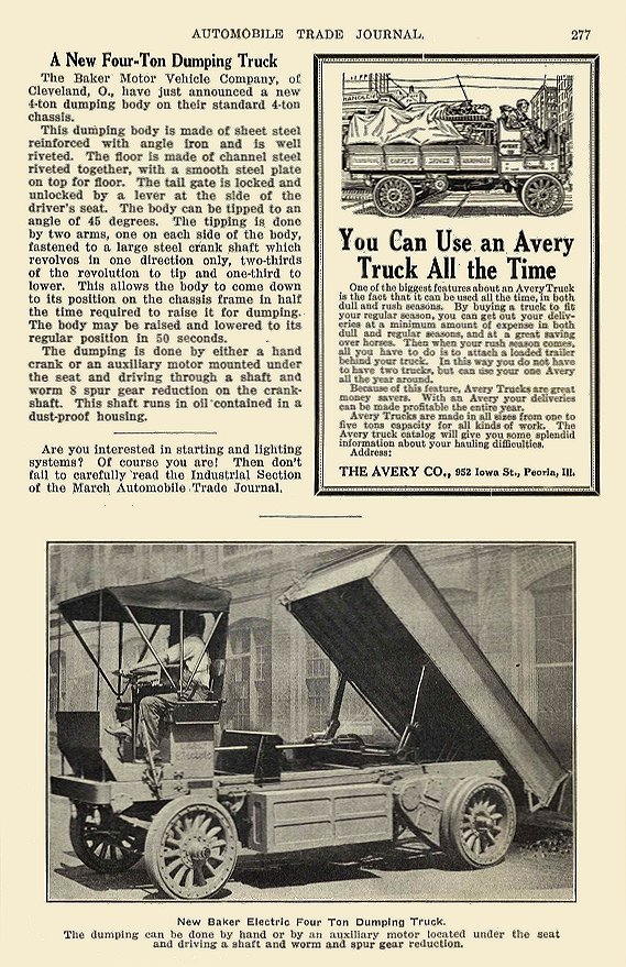 1914 2 BAKER Electric Truck New Baker Electric Four Ton Dumping Truck The Baker Motor Vehicle Company Cleveland, OHIO AUTOMOBILE TRADE JOURNAL February 1914 6″x9.75″ page 277