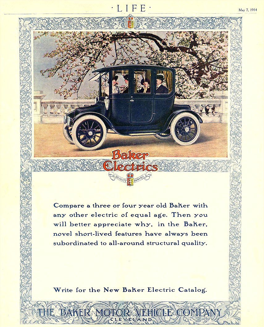 1914 5 7 BAKER Electric Compare a three or four year old Baker THE BAKER MOTOR VEHICLE COMPANY Cleveland, OHIO LIFE May 7, 1914 8.75″x10.75″
