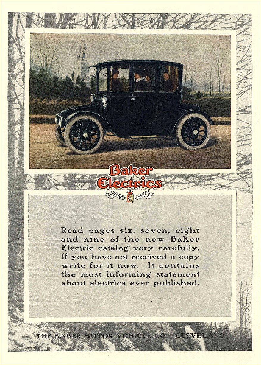 1914 ca. BAKER Electric Quality & Service The BAKER Motor Vehicle Co Cleveland, OHIO 8.75″x12.5″