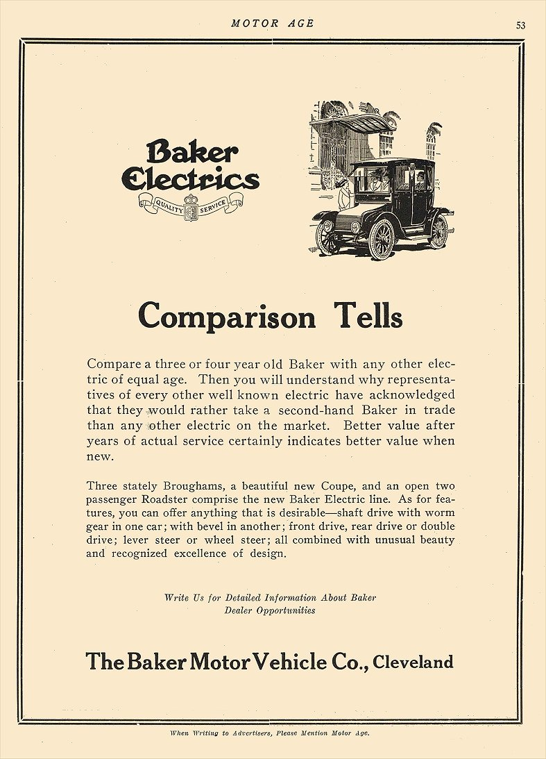 1914 5 28 BAKER Electric Comparison Tells The Baker Motor Vehicle Company Cleveland, OHIO MOTOR AGE May 28, 1914 8.5″x12″ page 53