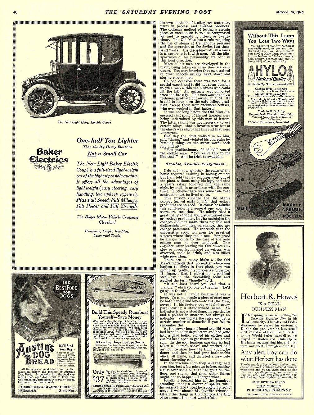 1915 3 13 BAKER Electric One-half Ton Lighter The Baker Motor Vehicle Company Cleveland, OHIO THE SATURDAY EVENING POST March 13, 1915 10.5″x13.75″ page 46
