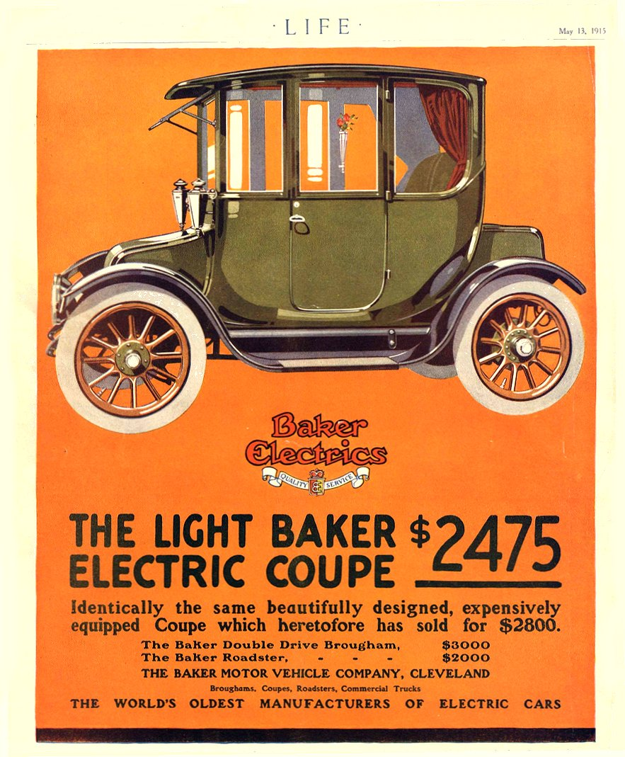 1915 5 13 BAKER Electric THE LIGHT BAKER ELECTRIC COUPE $2475 THE BAKER MOTOR VEHICLE COMPANY Cleveland, OHIO LIFE May 13, 1915 8.75″x10.75″