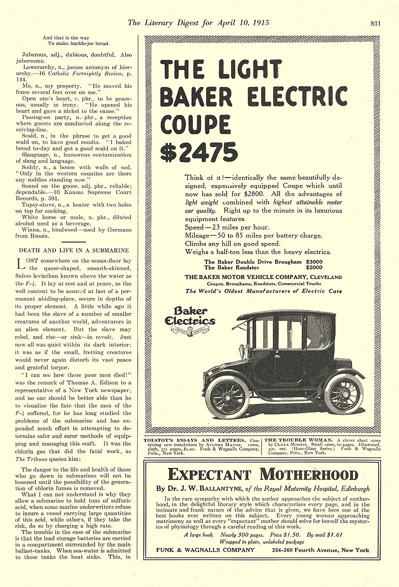 1915 4 10 BAKER Electric Light Coupe $2475 The Baker Motor Vehicle Company Cleveland, OHIO The Literary Digest April 10, 1915 8.5″x12″ page 831