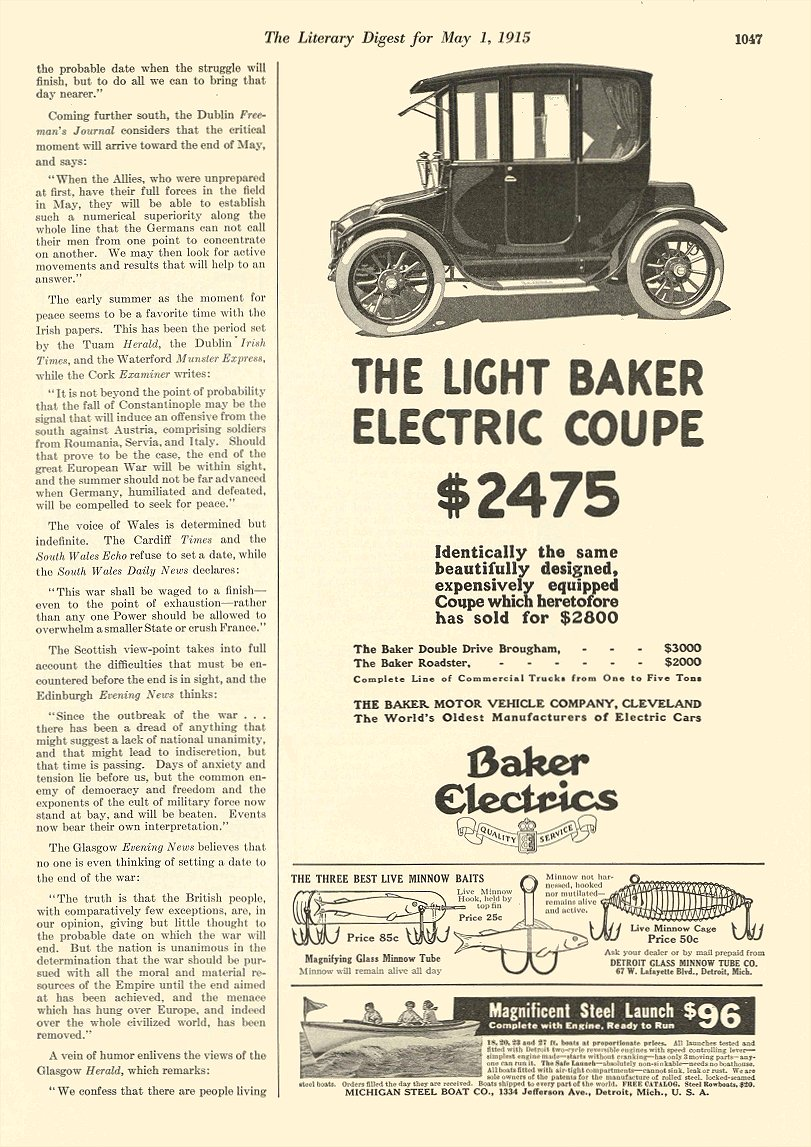 1915 5 1 BAKER Electric Light Coupe $2475 The Baker Motor Vehicle Company Cleveland, OHIO The Literary Digest May 1, 1915 8.5″x11.75″ page 1047