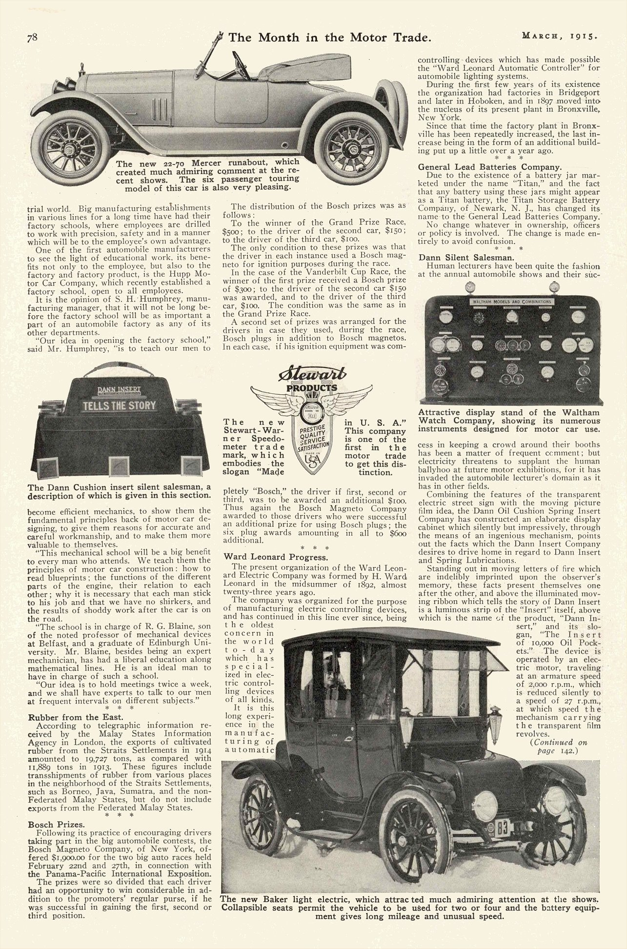 1915 3 BAKER new Baker light electric The Month in the Motor Trade March 1915 9″x13.5″ page 78