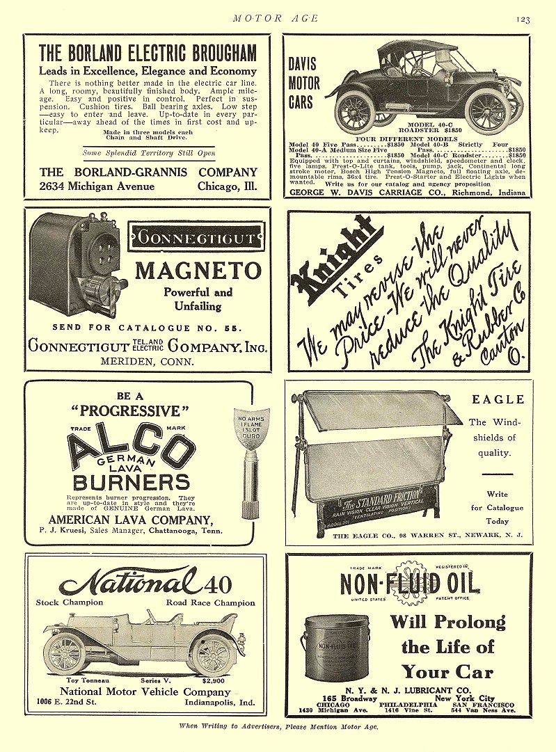 1911 3 27 BORLAND Electric THE BORLAND ELECTRIC BROUGHAM THE BORLAND-GRANNIS COMPANY Chicago, ILL MOTOR AGE March 27, 1911 8.5″x12″ page 123