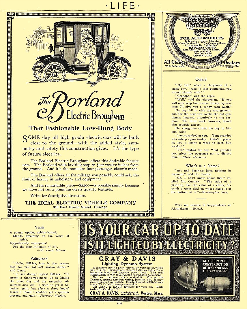 1911 BORLAND Electric Brougham That Fashionable Low-Hung Body The Ideal Electric Vehicle Company Chicago, ILL LIFE 1911 8.5″x11″ page 1182