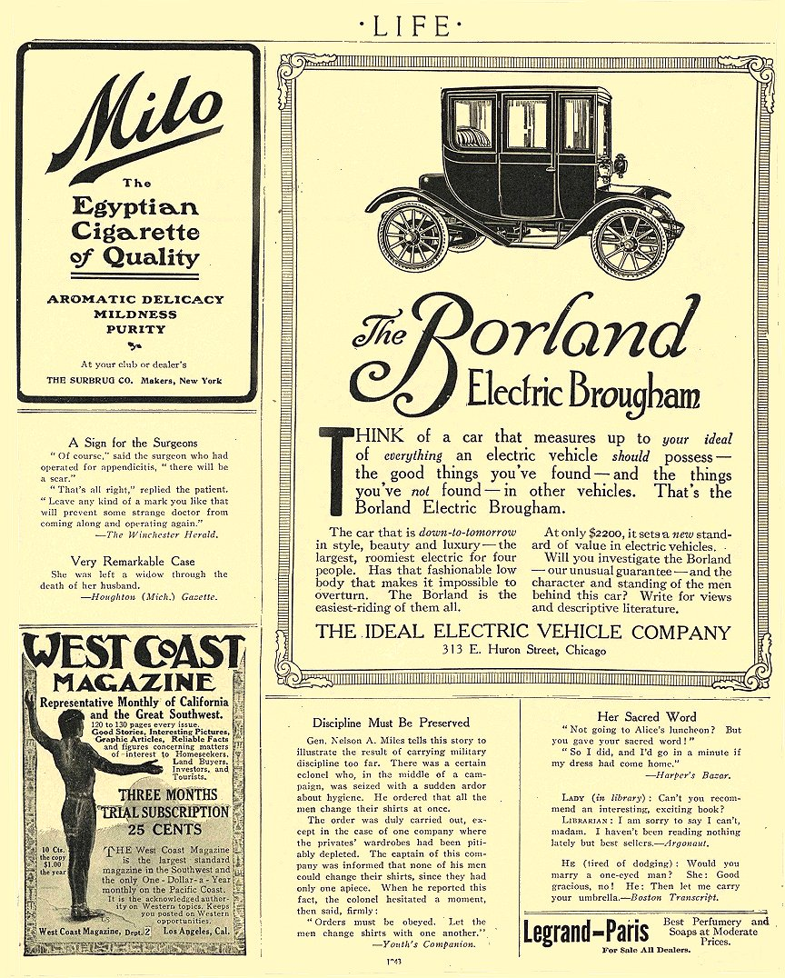 1911 5 25 BORLAND Electric The Borland Electric Brougham The Ideal Electric Vehicle Company Chicago, ILL LIFE May 25, 1911 8.5″x10.75″ page 1843