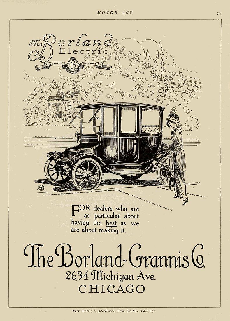 1912 11 14 BORLAND Electric The Borland-Grannis Co Chicago, Illinois MOTOR AGE Nov 14, 1912 8″x11.5″ page 79