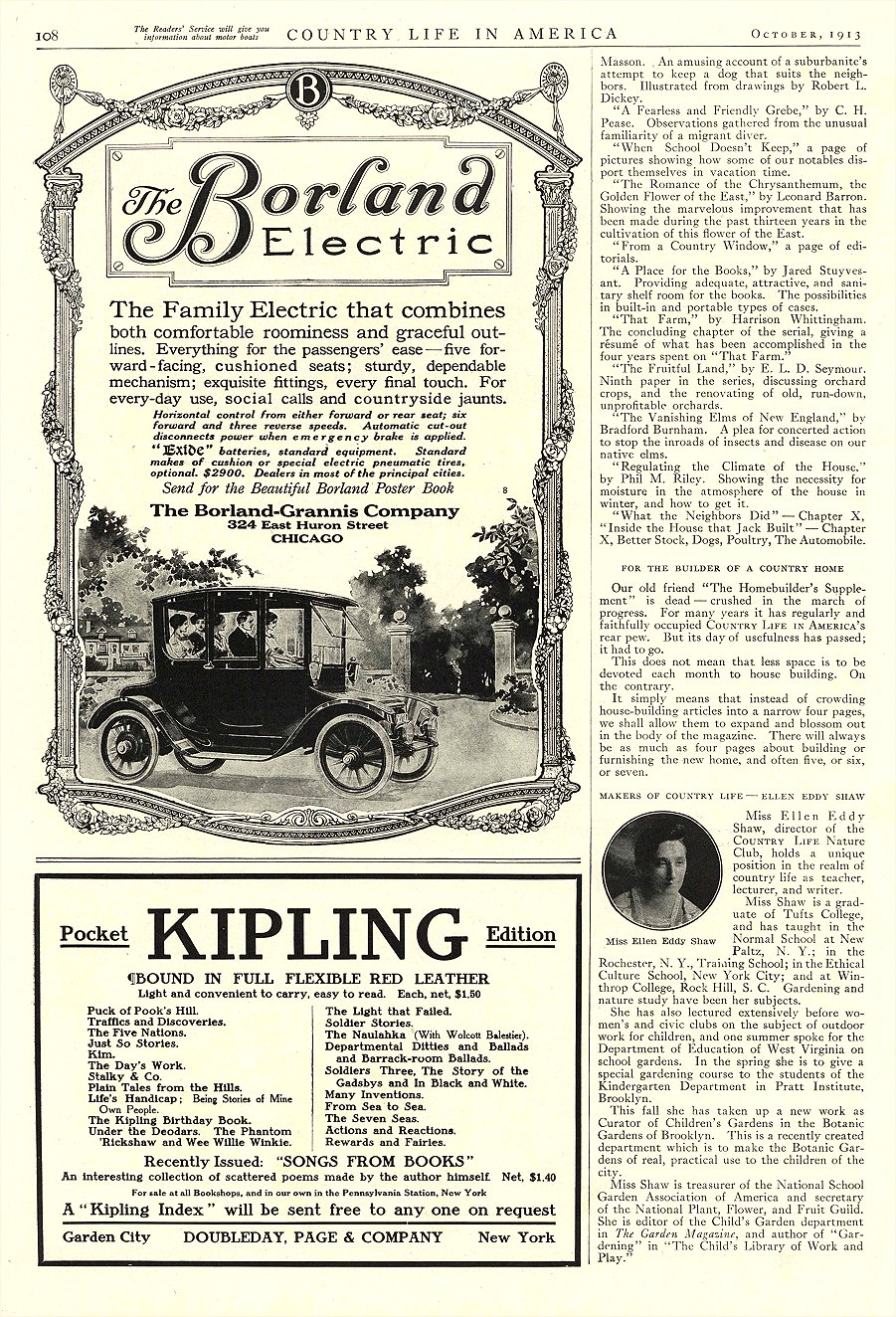 1913 10 BORLAND Electric The Family Electric that combines The Borland-Grannis Co. Chicago, ILL COUNTRY LIFE IN AMERICA October 1913 9.75″x14″ page 108