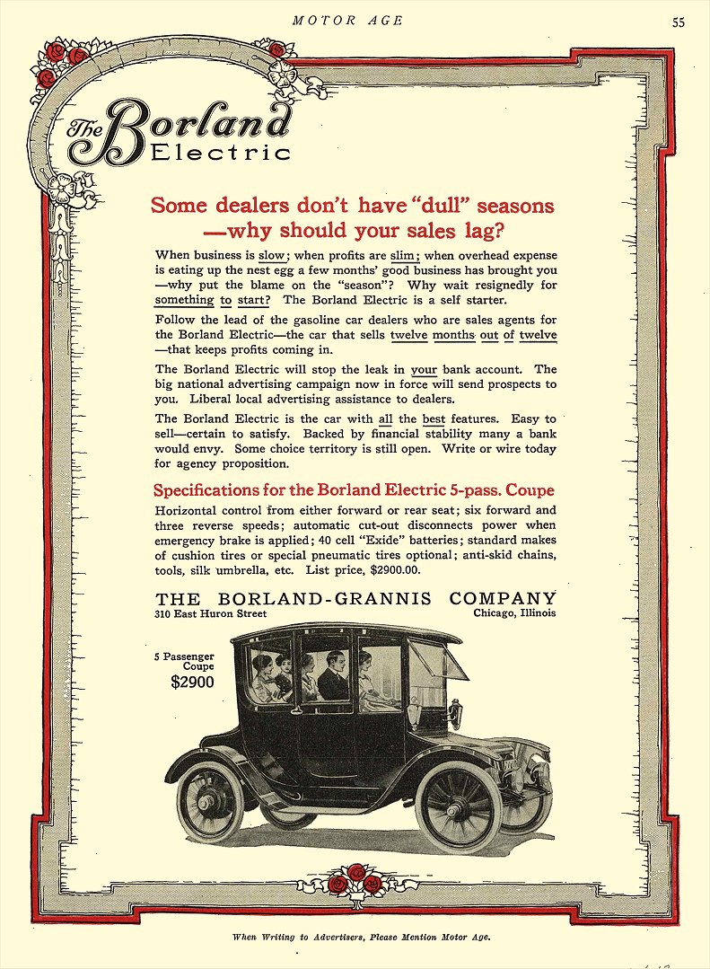 1913 11 6 BORLAND Electric 5 Passenger Coupe $2900 The Borland-Grannis Co. Chicago, ILL MOTOR AGE November 6, 1913 8.5″x11.5″ page 55