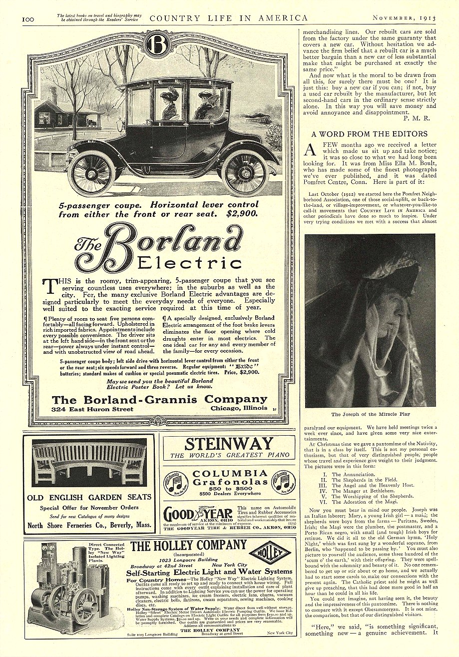 1913 11 BORLAND Electric 5-passenger coupe. $2,900 The Borland-Grannis Co. Chicago, ILL COUNTRY LIFE IN AMERICA November 1913 9.75″x14″ page 100