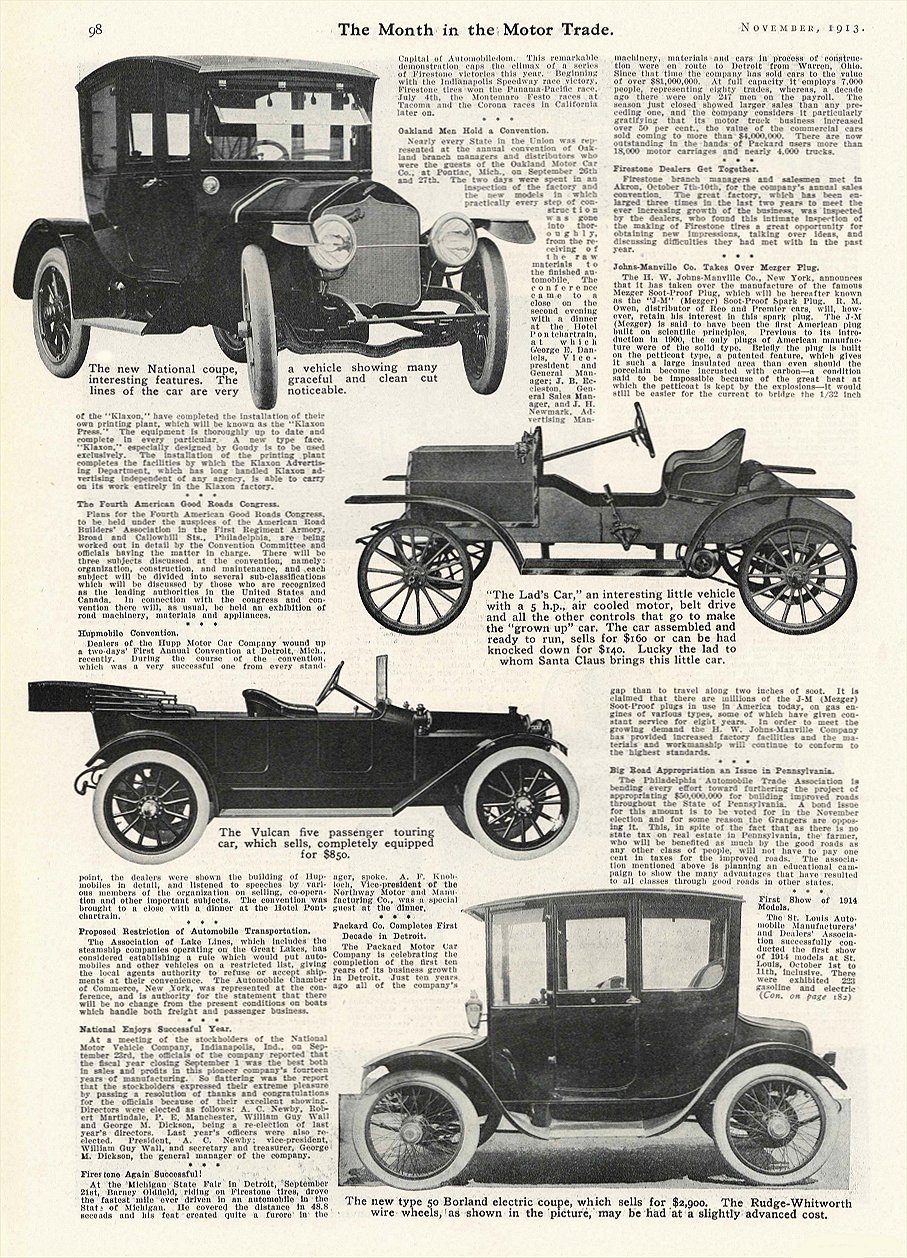 1913 11 BORLAND Electric New type 50 Borland electric coupe The Borland-Grannis Co. Chicago, ILL The Month in the MOTOR TRADE November 1913 9.25″x13.5″ page 98
