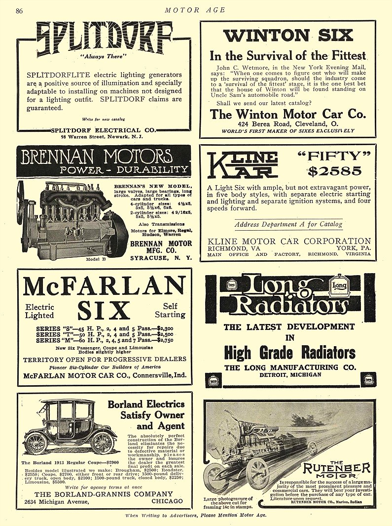 1913 2 20 BORLAND Electric Satisfy Owner and Agent The Borland-Grannis Co. Chicago, ILL MOTOR AGE February 20, 1913 8.25″x11.75″ page 86