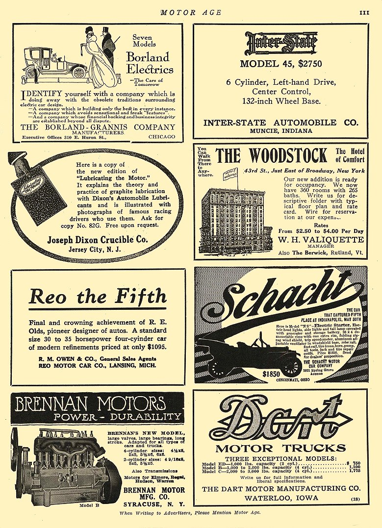 1913 3 20 BORLAND Electric Seven Models The Borland-Grannis Co. Chicago, ILL MOTOR AGE March 20, 1913 8.25″x12″ page 111
