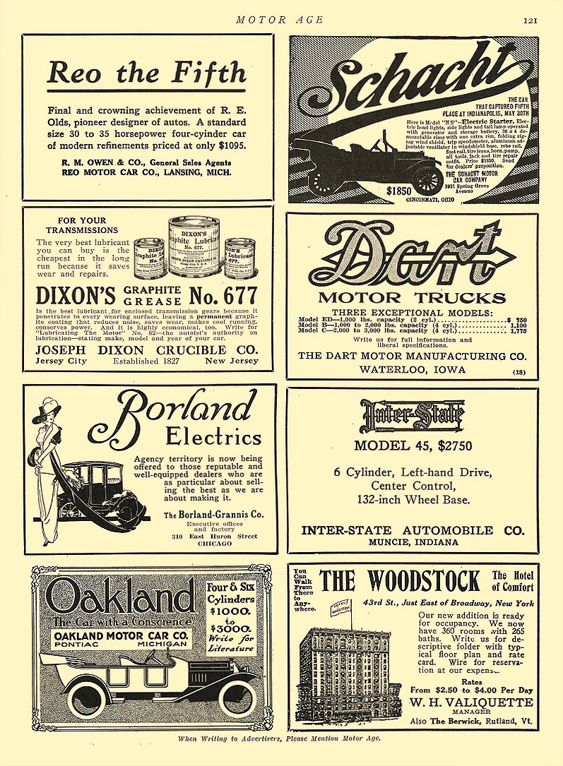 1913 4 3 BORLAND Electric Borland Electrics The Borland-Grannis Co. Chicago, ILL MOTOR AGE April 3, 1913 8.25″x11.5″ page 121