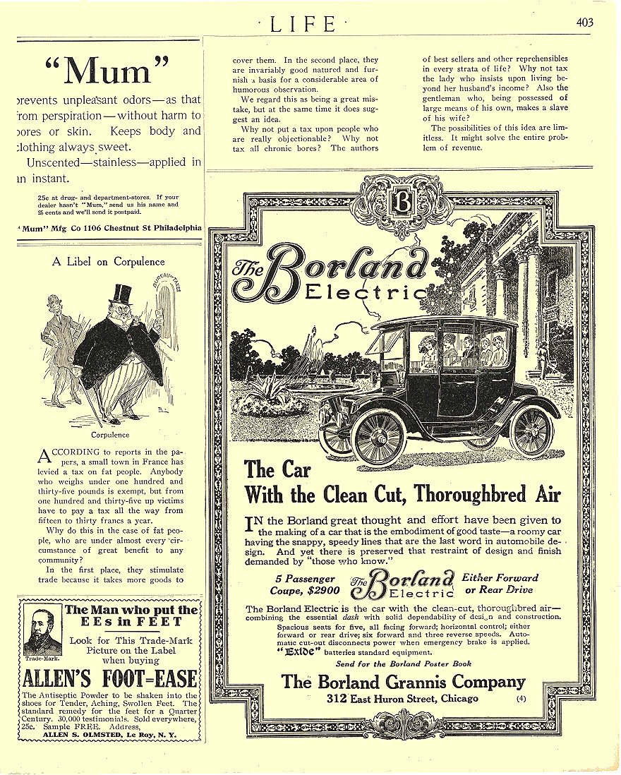 1913 9 4 BORLAND Electric With the Clean Cut, Thoroughbred Air The Borland Grannis Company Chicago, ILL LIFE September 4, 1913 8.75″x11″ page 403