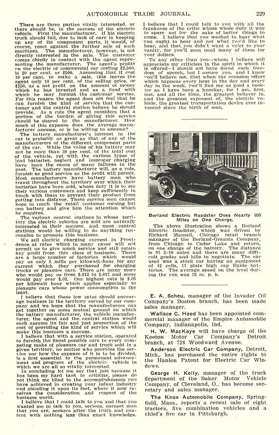 1913 9 BORLAND Electric Roadster Does Nearly 100 miles on Charge The Borland-Grannis Co. Chicago, ILL AUTOMOBILE TRADE JOURNAL September 1913 6.25″x10″ page 229