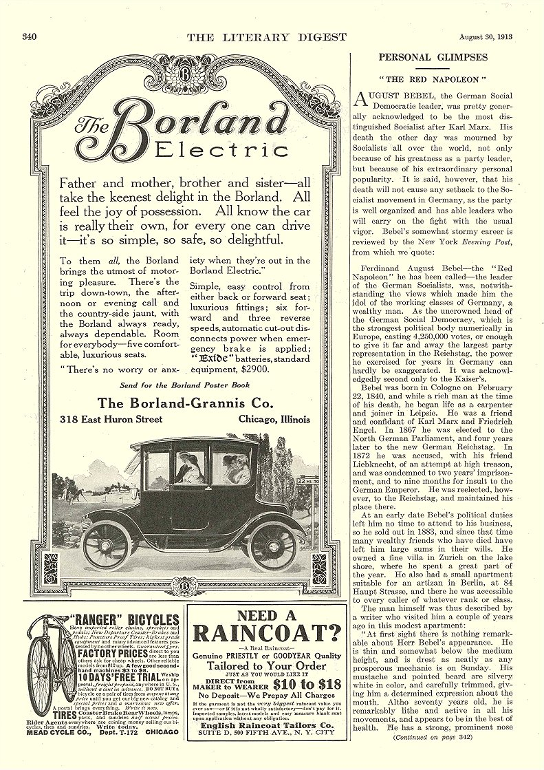 1913 8 30 BORLAND Electric Father and mother, brother and sister – all The Borland-Grannis Company Chicago, ILL The Litereary Digest August 30, 1913 8″x11.75″ page 340