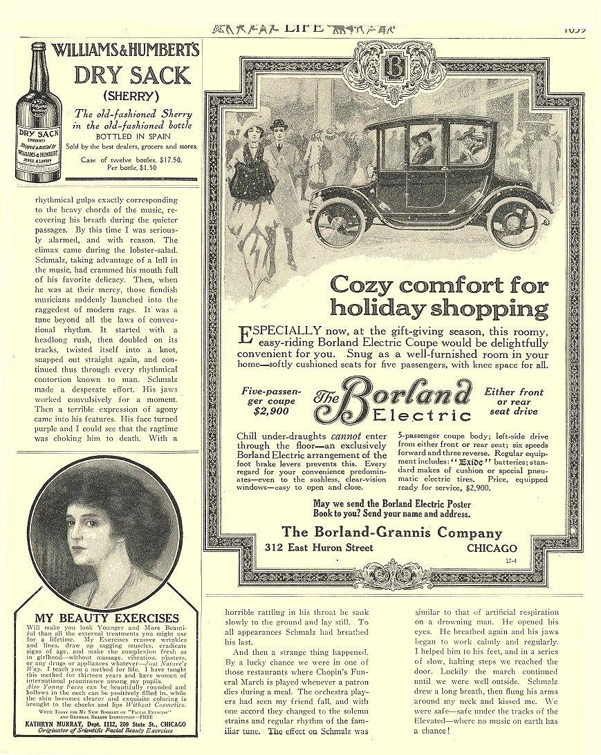 1913 12 4 BORLAND Electric Cozy comfort for holiday shopping The Borland-Grannis Company Chicago, ILL LIFE December 4, 1913 8.5″x11″ page 1039