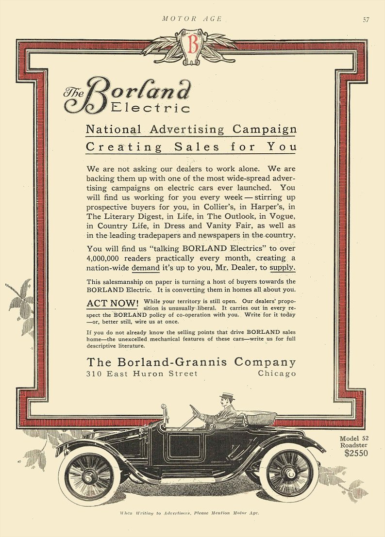 1913 9 18 BORLAND Electric National Advertising Campaign The Borland-Grannis Company Chicago, ILL MOTOR AGE September 18, 1913 8.5″x12″ page 57