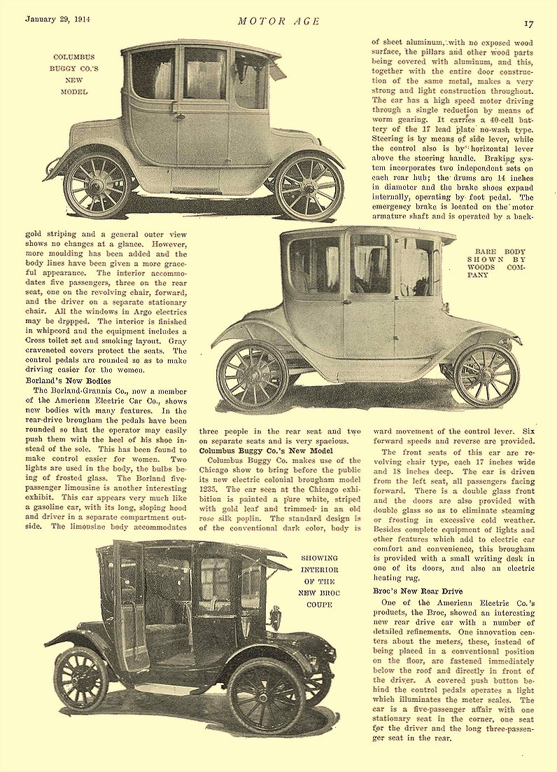 1914 1 29 BORLAND Electric Electric Vehicles in Novel Designs The Ideal Electric Vehicle Company Chicago, ILL MOTOR AGE January 29, 1914 8.5″x11.75″ page 17