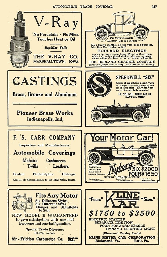 1916 7 BORLAND Electric The Borland-Grannis Co. Chicago, ILL AUTOMOBILE TRADE JOURNAL July 1916 6.25″x9.75″ page 317