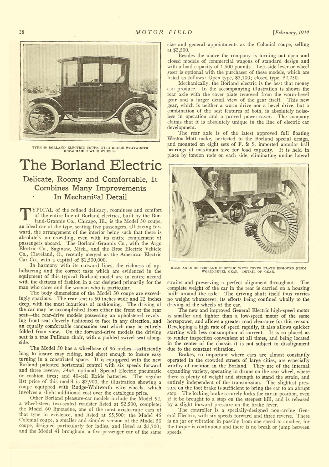 1914 2 BORLAND The Borland Electric (article) MOTOR FIELD February 1914 Vol. 28 No. 5 9″x12″ page 28