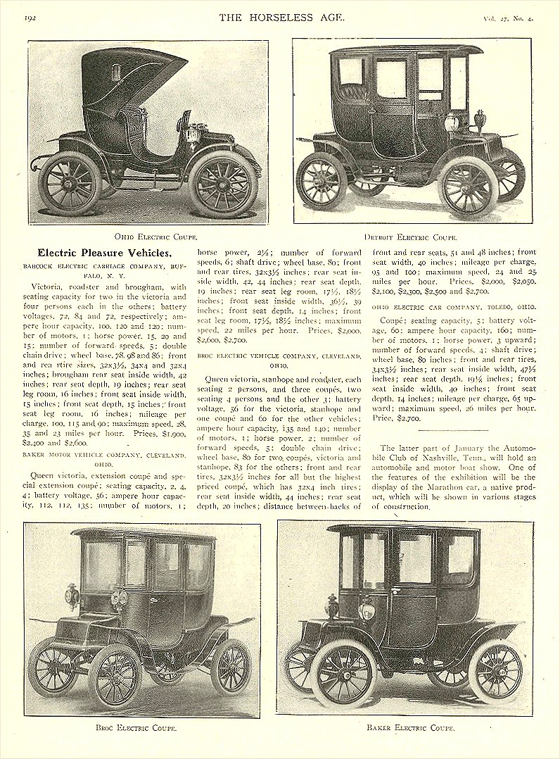 1911 1 25 BROC Electric Electric Pleasure Vehicles The Broc Electric Vehicle Company Cleveland, OHIO THE HORSELESS AGE January 25, 1911 8.5″x12″ page 192