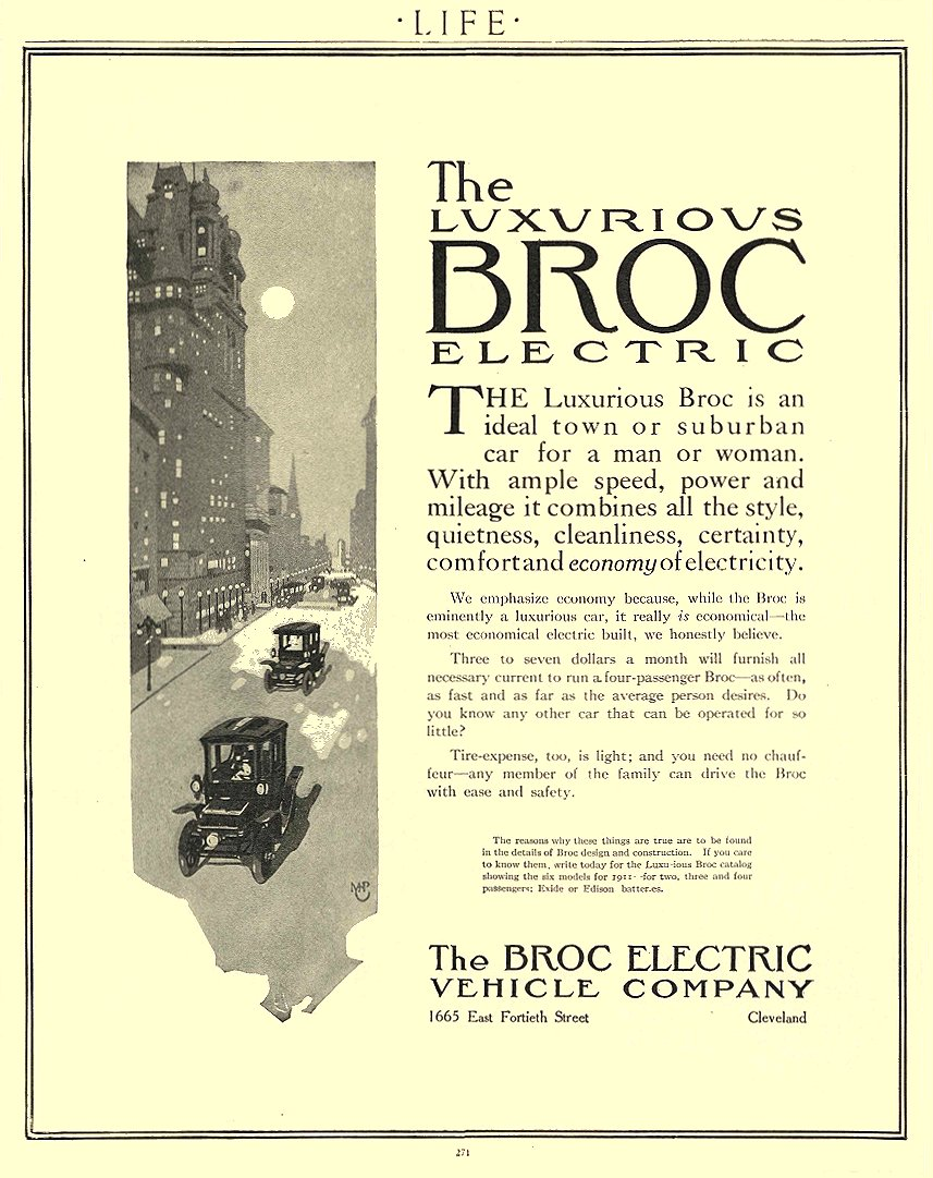 1911 2 2 BROC Electric Car The Luxurious BROC Electric The Broc Electric Vehicle Company Cleveland, OHIO LIFE February 2, 1911 8.5″x11″ page 271