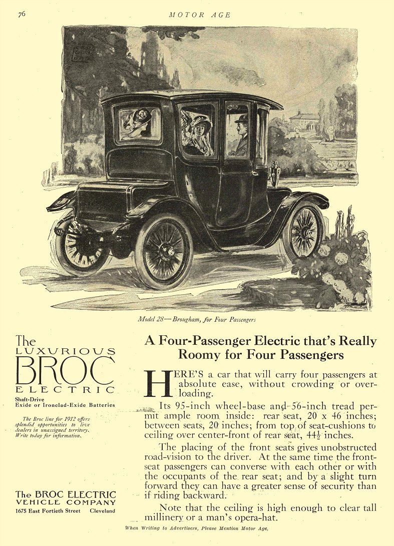 1911 3 27 BROC Electric Car Model 28 – Brougham, for Four Passengers The Broc Electric Vehicle Company Cleveland, OHIO MOTOR AGE March 27, 1911 8.5″x11.75″ page 76