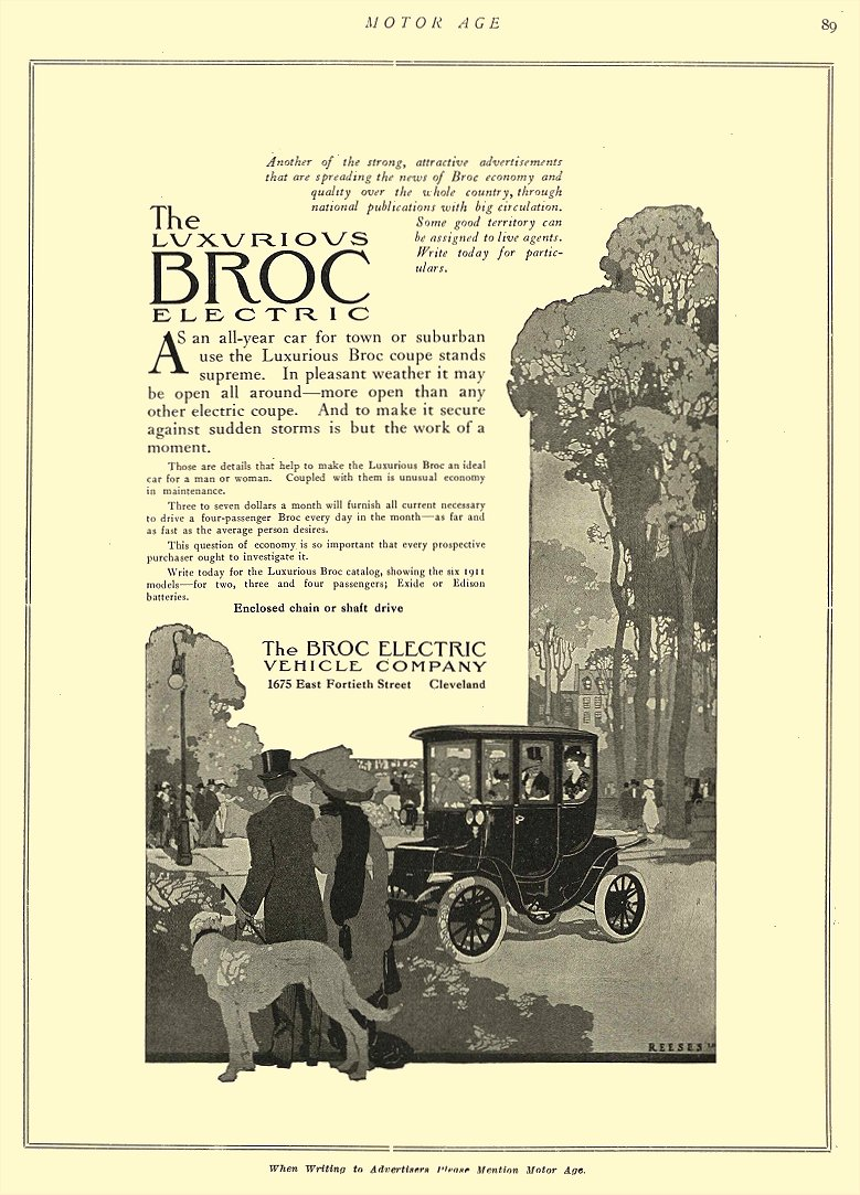 1911 4 6 BROC Electric Car The Luxurious BROC Electric The Broc Electric Vehicle Company Cleveland, OHIO MOTOR AGE April 6, 1911 8.5″x12″ page 89