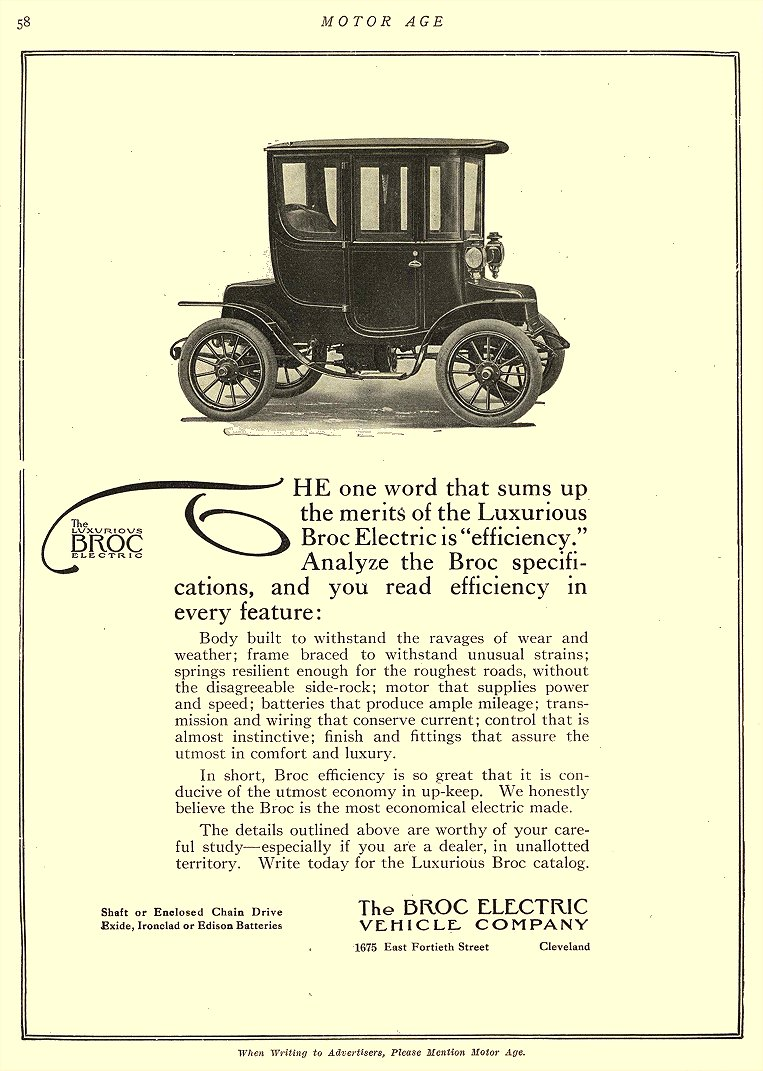 "1911 9 21 BROC Electric Car Luxurious BROC Electric is ""efficiency"" The Broc Electric Vehicle Company Cleveland, OHIO MOTOR AGE September 21, 1911 8.25″x11.25″ page 58"