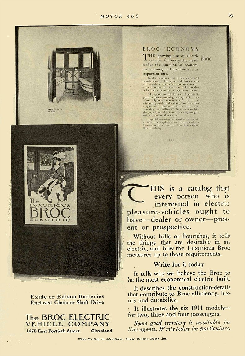 1911 4 27 BROC Electric BROC ECONOMY The Broc Electric Vehicle Company Cleveland, OHIO MOTOR AGE April 27, 1911 8.5″x12″ page 69