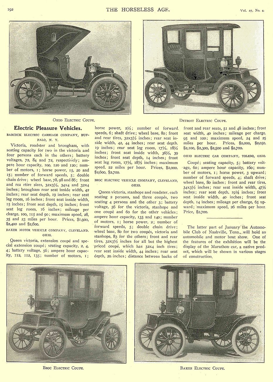 1911 1 25 BROC Electric Article Electric Pleasure Vehicles Broc Electric Coupe THE HORSELESS AGE January 25, 1911 University of Minnesota Library 8.25″x11.5″ page 192
