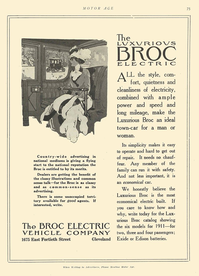 1911 3 2 BROC Electric The Luxurious BROC Electric The Broc Electric Vehicle Company Cleveland, OHIO MOTOR AGE March 2, 1911 8.5″x11.75″ page 75
