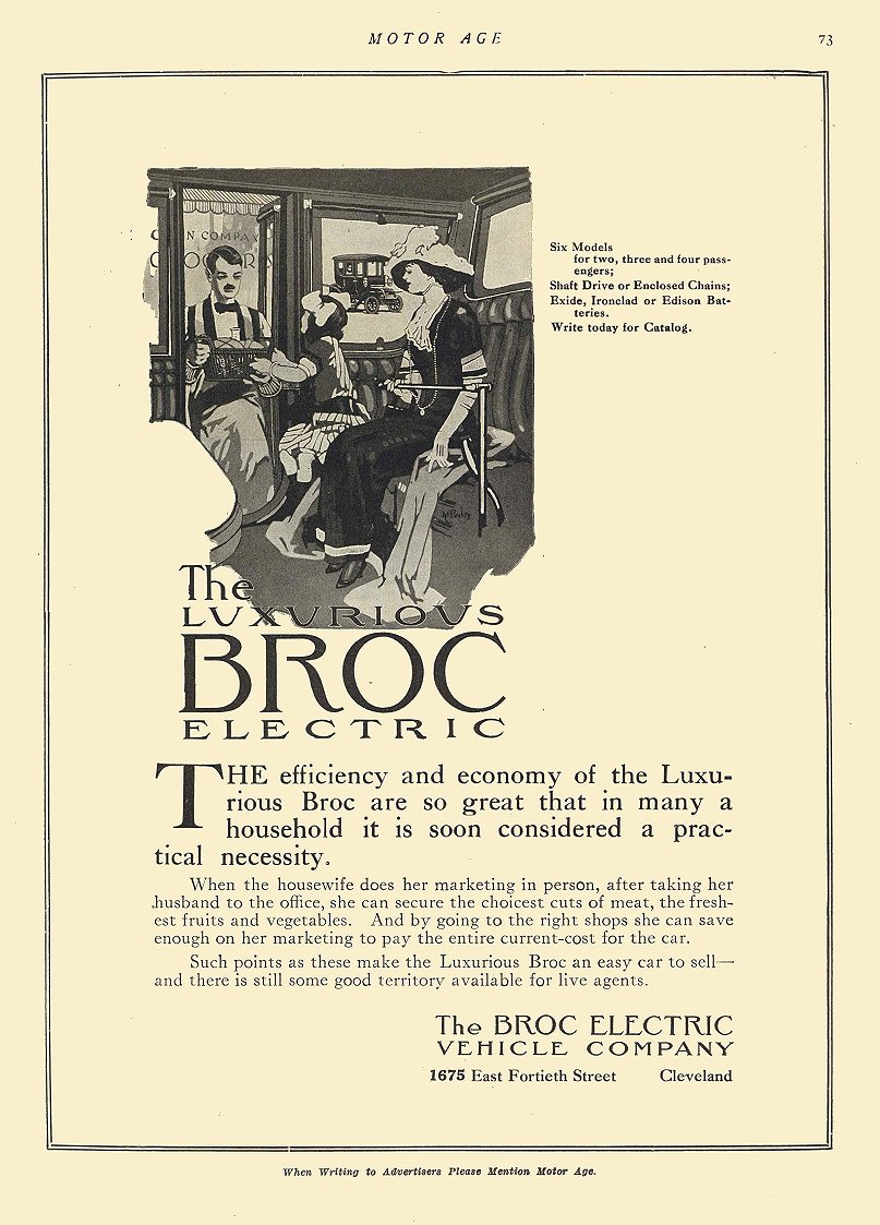 1911 1 25 BROC Electric The Luxurious BROC Electric The Broc Electric Vehicle Company Cleveland, OHIO MOTOR AGE May 25, 1911 8.5″x12″ page 73