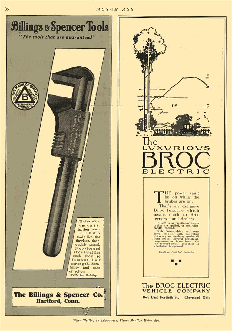 1911 BROC Electric Car The Luxurious BROC Electric The Broc Electric Vehicle Company Cleveland, OHIO MOTOR AGE 1911 8.25″x11.75″ page 86