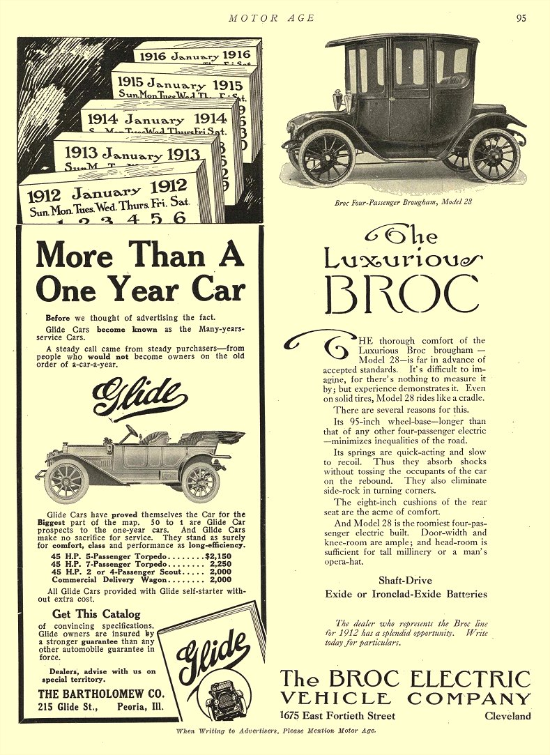 1912 4 4 BROC Electric Car The Luxurious BROC The Broc Electric Vehicle Company Cleveland, OHIO MOTOR AGE April 4, 1912 8.5″x12″ page 95